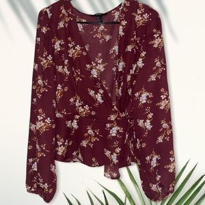 Forever 21 floral wrap blouse